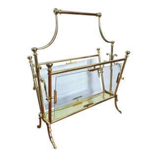Vintage Brass Maison Bagues Magazine Rack For Sale