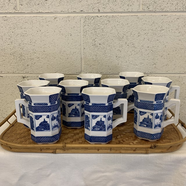 Blue Blue & White Chinoiserie Coffee Mugs - a Set 10 For Sale - Image 8 of 13