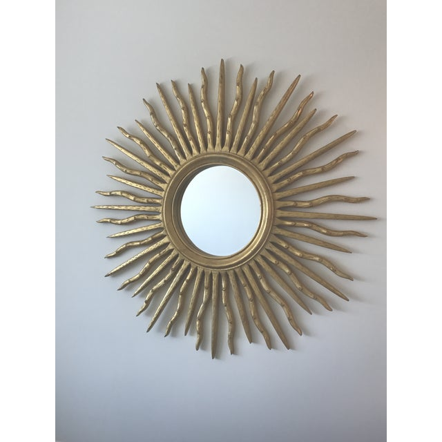 Early 21st Century Contemporary Wood Sun Mirror - Image 3 of 4