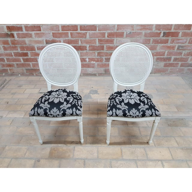 Pair of Vintage French Louis XVI Newly Upholstered Cane Back White Accent Chairs For Sale - Image 13 of 13