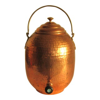 Large Hammered Copper Beverage Dispenser For Sale
