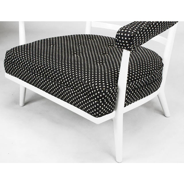 Four Bert England White Lacquer & Black Polka Dot Lounge Chairs For Sale - Image 9 of 9