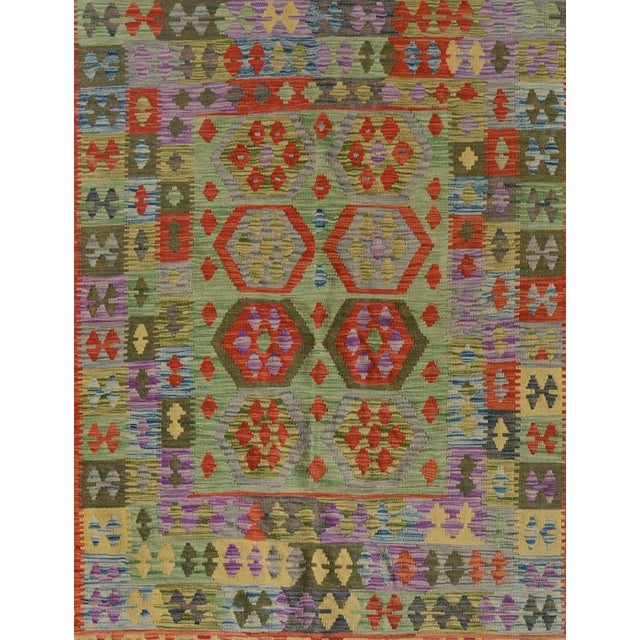 Boho Chic Arya Curt Green/Gold Wool Kilim Rug - 4'11 X 6'7 For Sale - Image 3 of 7