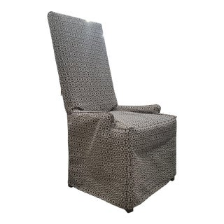 Henredon Furniture Slip Cover Style High Back Parsons Arm Chair For Sale