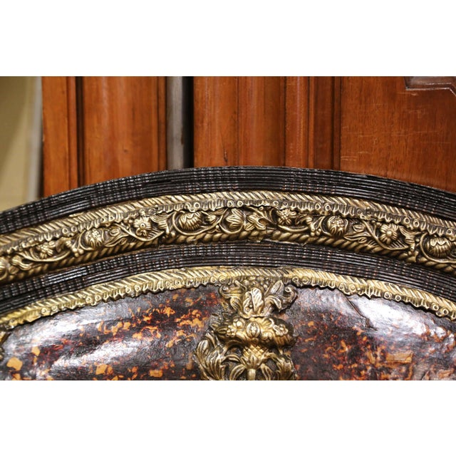 19th Century French Napoleon III Repousse Brass and Ebony Overlay Wall Mirror For Sale In Dallas - Image 6 of 11