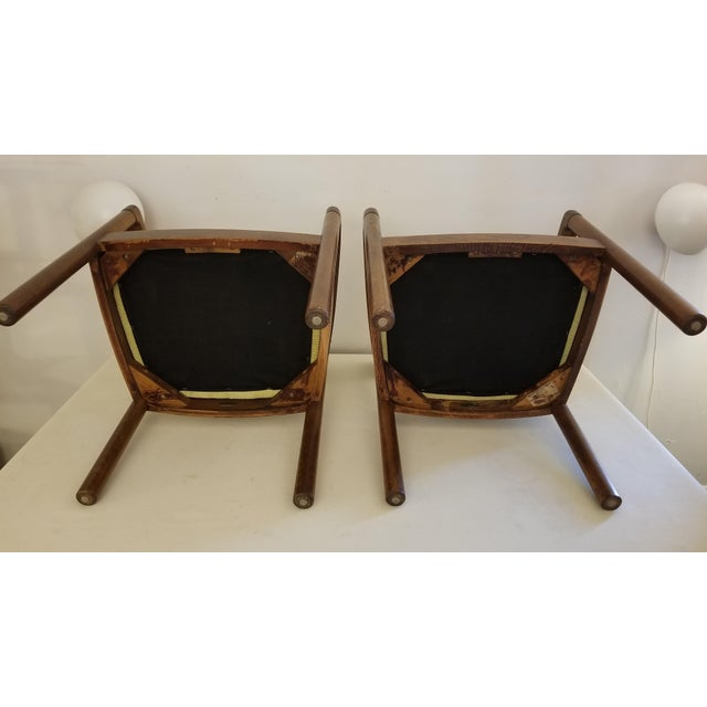 Wood 1960s Walnut Zographos Ireland Chairs - a Pair For Sale - Image 7 of 10