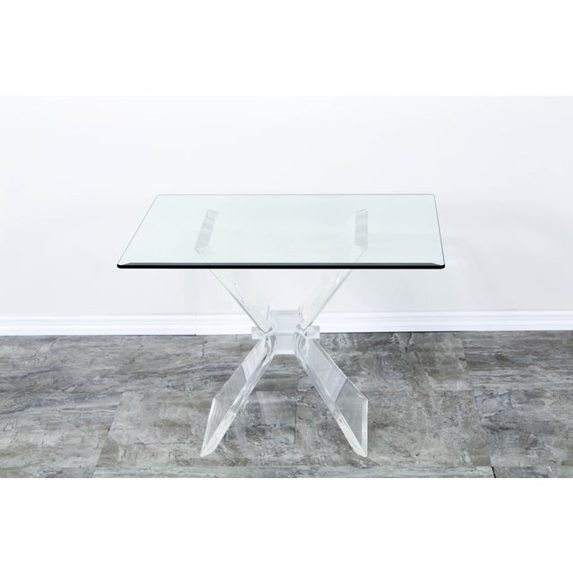Lucite Butterfly X Base Side Table For Sale In Miami - Image 6 of 10