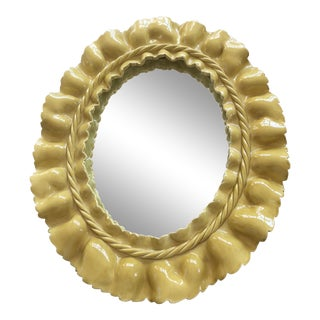 Yellow Ceramic Ruffle Mirror For Sale