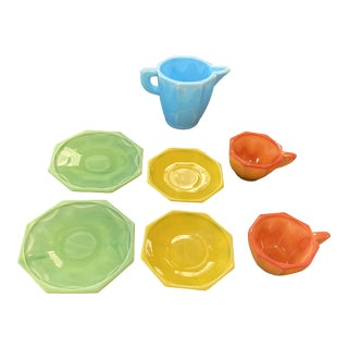 Vintage Mid-Century Akro Agate Milk Glass Child's Tea Set - 7 Pieces For Sale