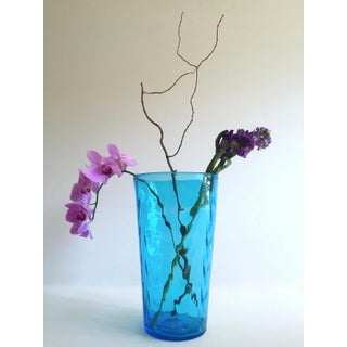 Vintage Mid Century Modern Aqua Sea Blue Hand Blown Murano Art Glass Large Cylinder Ripple Vase Preview
