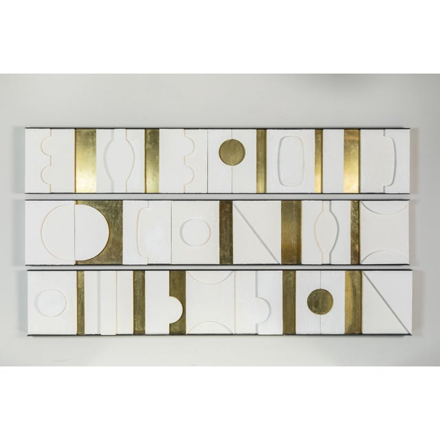 White Art Wall Sculpture Modernist Frieze Panels Triptych by Paul Marra For Sale - Image 8 of 8