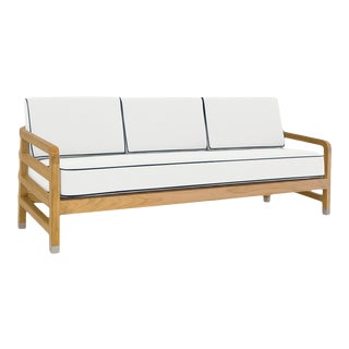 """Linley Large Sofa in Nice White with Sundeck Blue Welt, 75"""""""