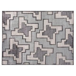 Stark Studio Rugs Contemporary Tandem Silver Silk Rug - 10′ × 14′ For Sale