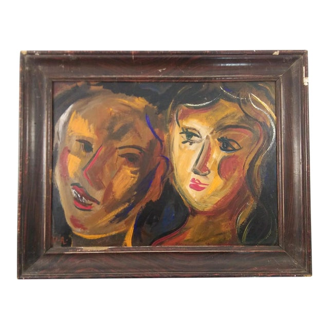 Mid 20th Century Abstract Faces Oil Painting, Framed For Sale