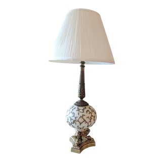 Pair of Mid Century Brass and Antique White Glass Lamp With Shade For Sale
