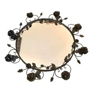 Vintage Black Iron Frame Round Mirror For Sale