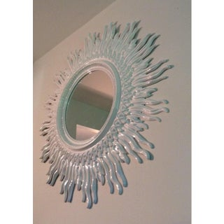 Vintage 70s Mid Century Modern Large 48 White Sunburst Mirror Preview