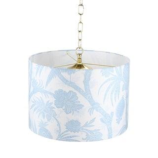 Pendant Light Drum Lamp Shade in Scalamandre Balinese Peacock Sky For Sale