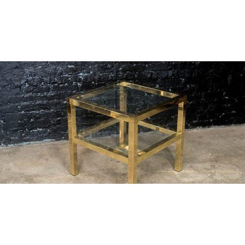 Gold Mastercraft Two Tiered Brass Side Table For Sale - Image 8 of 8