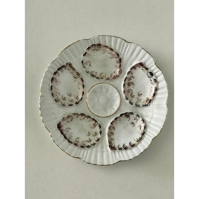 1940s Vintage Gray and White Oyster Plates - Set of 4 For Sale - Image 5 of 7