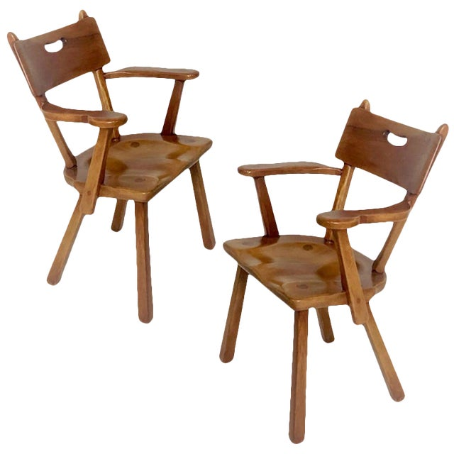 Cushman Vermont Americana Hard Rock Maple Armchairs by Herman DeVries - a Pair For Sale