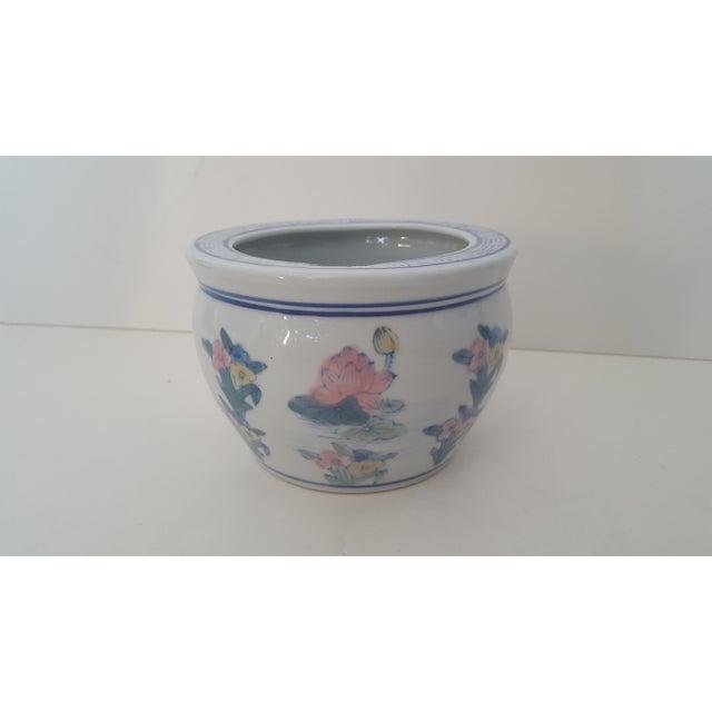 Vintage Blanc De Chine Asian Lotus Flower Cachepot - Image 8 of 8