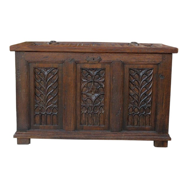 Antique French Oak 19th Century Gothic Coffer Chest Blanket Box Trunk For Sale