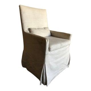 Modern Belgian Track Arm Slipcovered Natural Linen Armchair For Sale