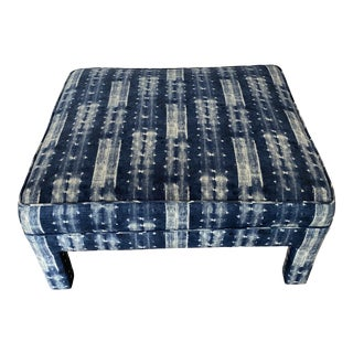 Mid 20th Century Indigo Blue Upholstered Ottoman For Sale