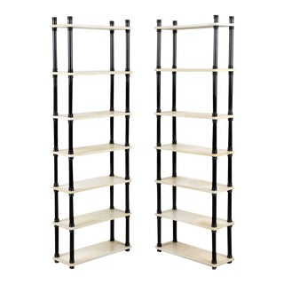 1970s Parchment and Ebonized Wood Etagere-a Pair For Sale