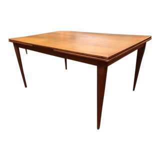 Vintage 1960s Mid-Century Danish Modern Teak Dining Table With Pull Out Leaves For Sale