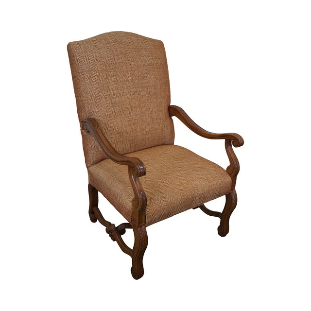Quality Renaissance Style Carved Frame Arm Chair - Image 1 of 10