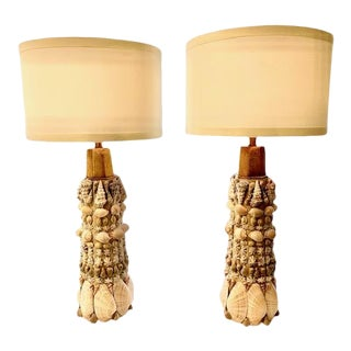 Shelled Lamps With Shades - a Pair For Sale