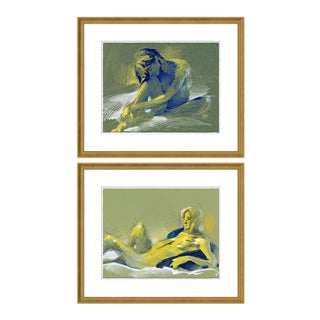 Figure 5 & 10 Diptych by David Orrin Smith in Gold Frame, Medium Art Print For Sale