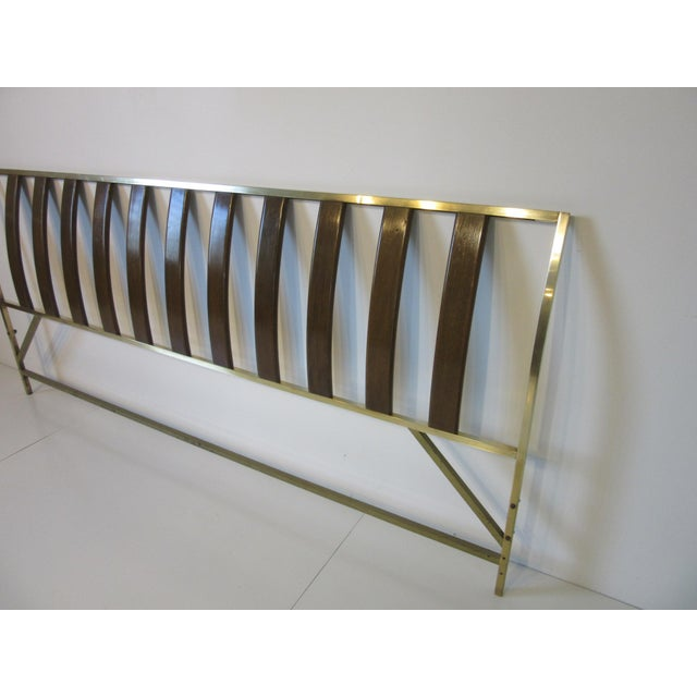 Mid 20th Century Harvey Probber Queen Sized Brass / Mahogany Headboard For Sale - Image 5 of 9