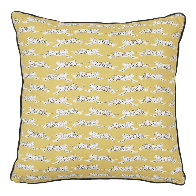 Schumacher Leaping Leopards Pillow in Yellow For Sale