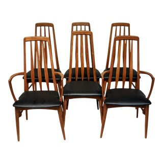Mid-Century Danish Modern Teak Eva High Back Dining Chairs by Niels Kofoed - 6 Piece Set For Sale