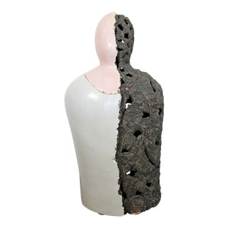 Mid Century Modern Mark Mazuka Head Torso Figure Ceramic Table Sculpture Vessel For Sale