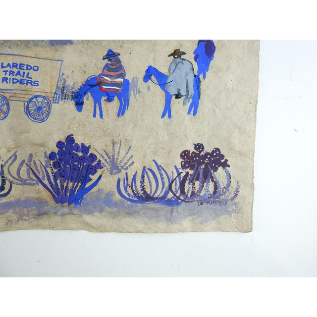 Folk Art Laredo Trail Riders Painting by Marilyn De King For Sale - Image 3 of 4