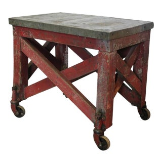 Antique American Industrial Wood & Metal Table For Sale