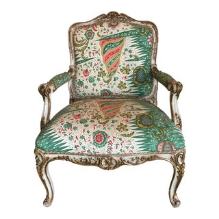 Large French Carved Louis XV Style Painted and Parcel Gilt Fauteuil
