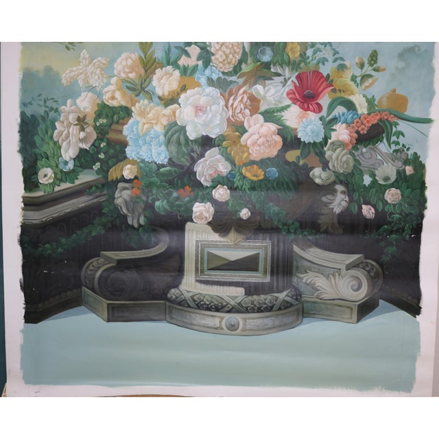 "Impressionism Vintage ""Statue and Floral Trellis"" Oil on Canvas Painting For Sale - Image 3 of 5"