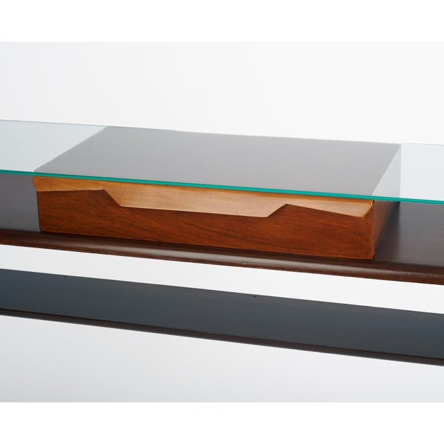 Italian 1950s Ico Parisi Att., Biomorphic Three-Tone Rosewood and Glass Console For Sale In New York - Image 6 of 7