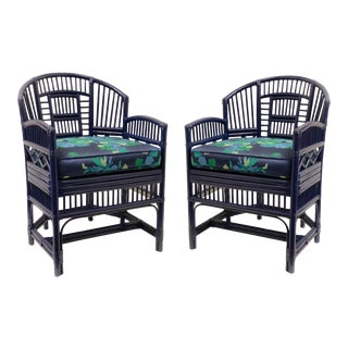 Lacquered Chippendale Style Bamboo Chairs - a Pair