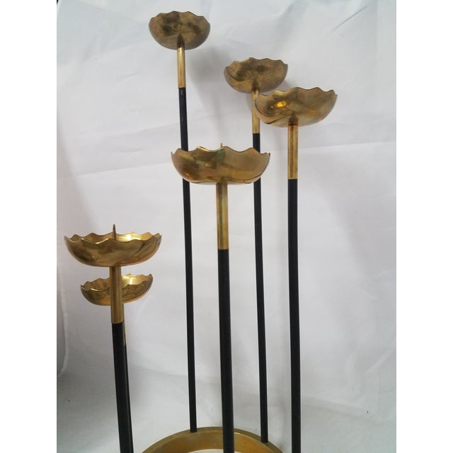 Mid-Century Brass Candle Stick Holder For Sale - Image 9 of 11