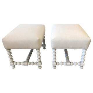 1950s Swedish Painted Wood and Upholstered Ottomans - a Pair For Sale