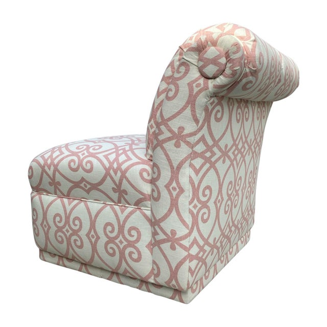 Late 20th Century 90s Roll Back Chair Armless Chair Newly Upholstered in Vintage Fabricut Linen For Sale - Image 5 of 8