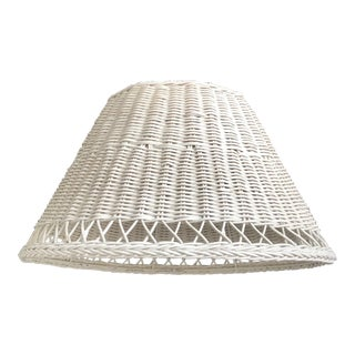 Vintage Large White Wicker Lampshade