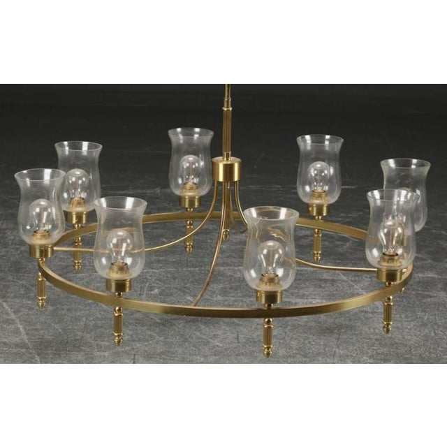 - Large hall chandelier by Svend Mejlstrøm from the 1960s - Brass construction fitted with E27 sockets and hand blown...
