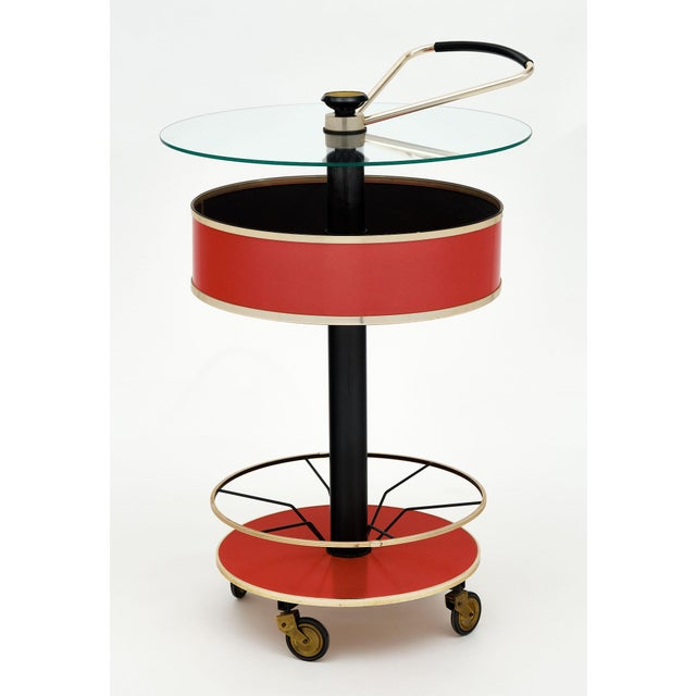 Red Italian Hydraulic Bar Cart For Sale - Image 8 of 10